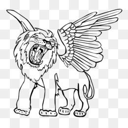 Singa Bersayap Unduh Gratis Menggambar Line Art Carnivora Sketsa
