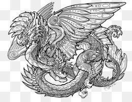 Naga Garis Seni Buku Mewarnai Gambar Png