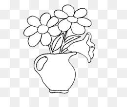 Sketsa Bunga Gambar Vas Bunga Hitam Putih