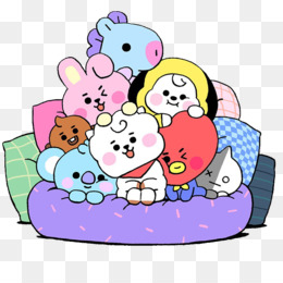 transparent cartoon pink line bt21 tata mang chimmy cooky shooky rj koya van bab5e61b793e14058.3897104615834622919226